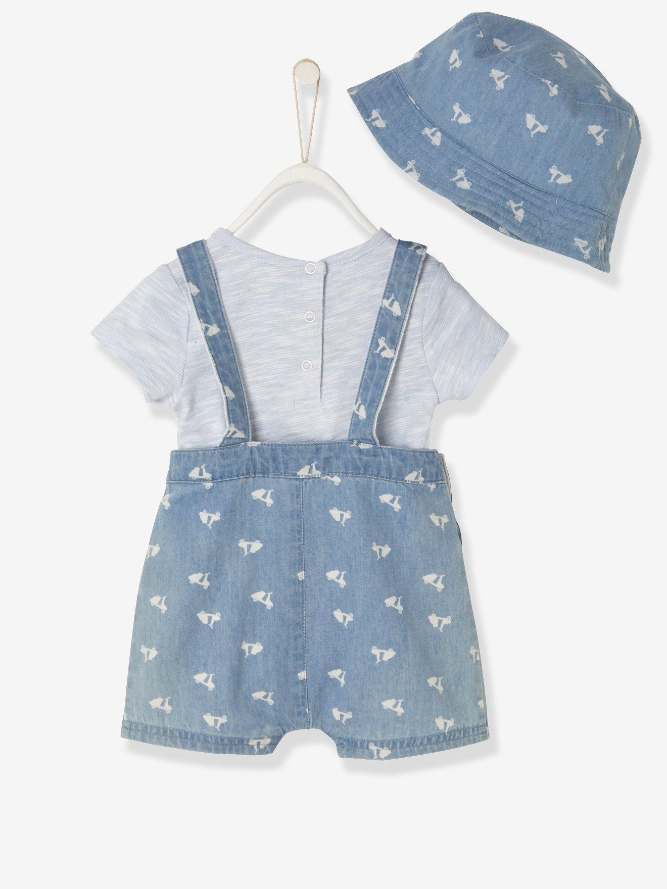 3 teiliges Babyoutfit Hose, T-Shirt und Hut