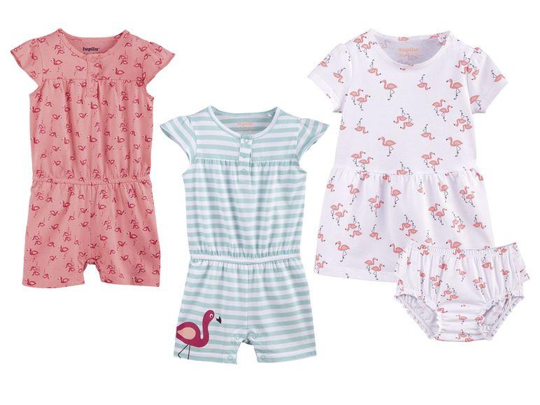 Jumpsuits bzw. Kleidchen in rosa und weiß