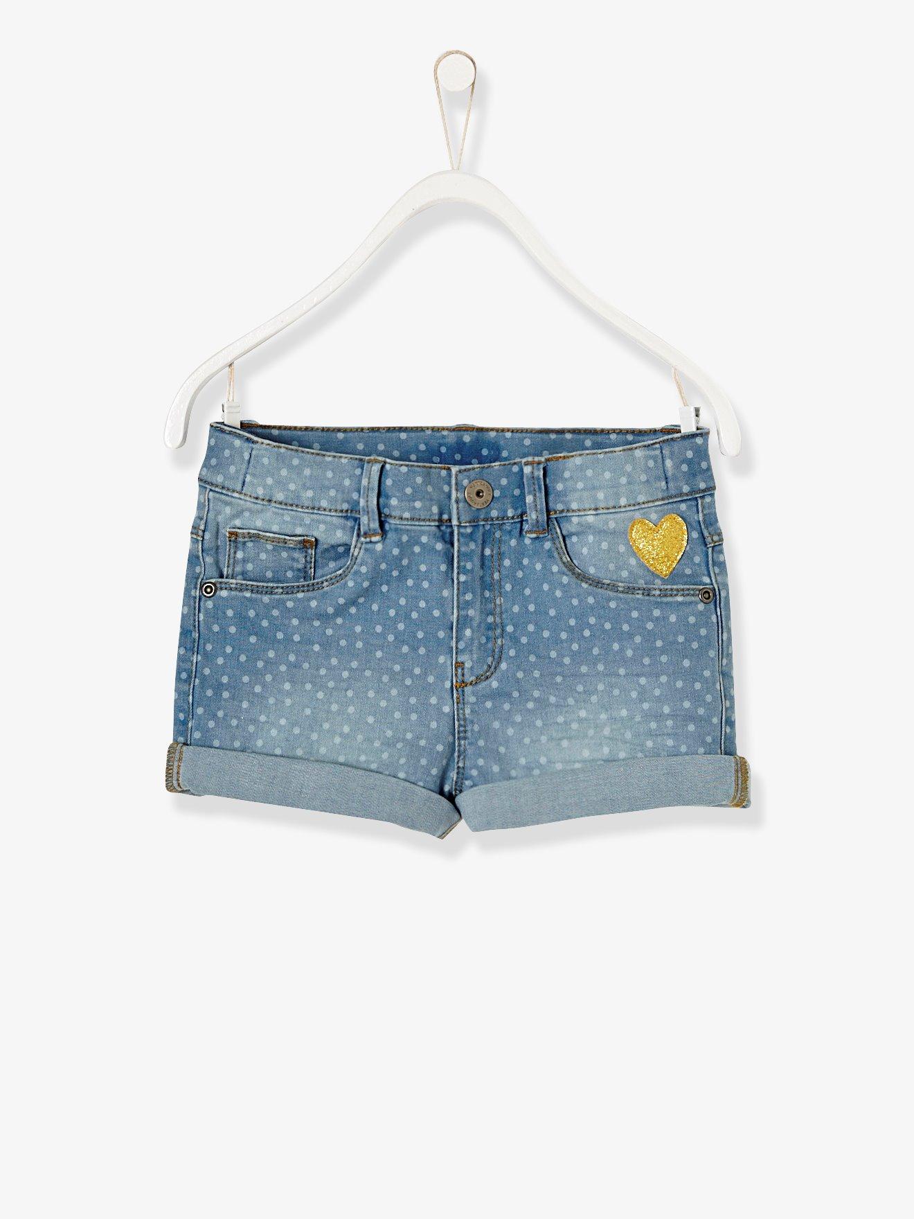 Mädchen Jeanssshort mit weißen tupfern