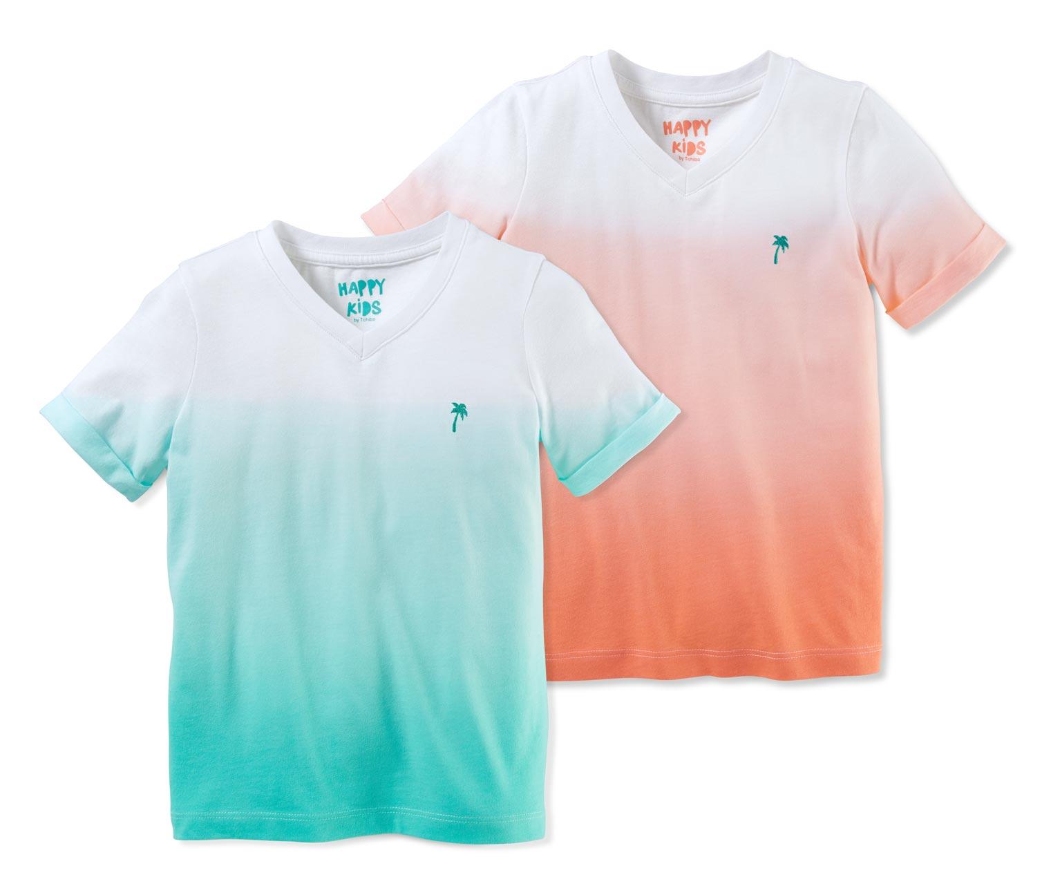 zwei T-Shirst in weiß türkis pink