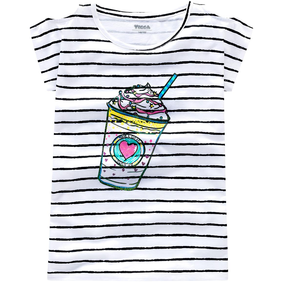 weiß gestreiftes T-Shirt mit Eisbecheraufdruck