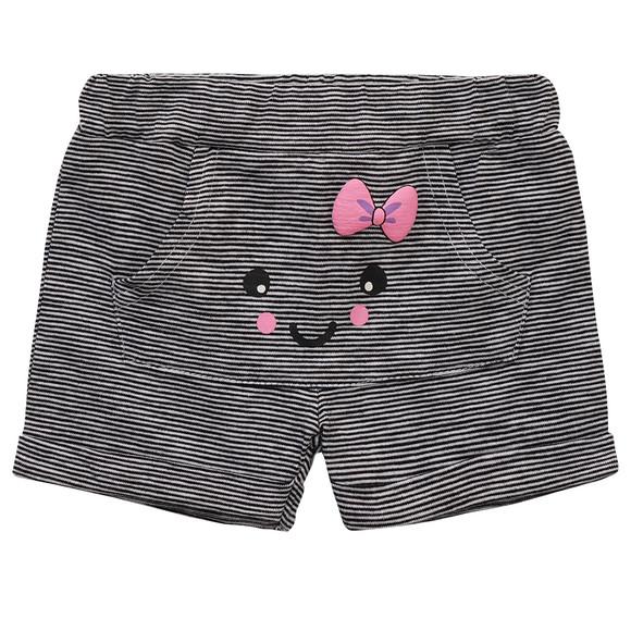gestreifte shorts mit rosa schleife