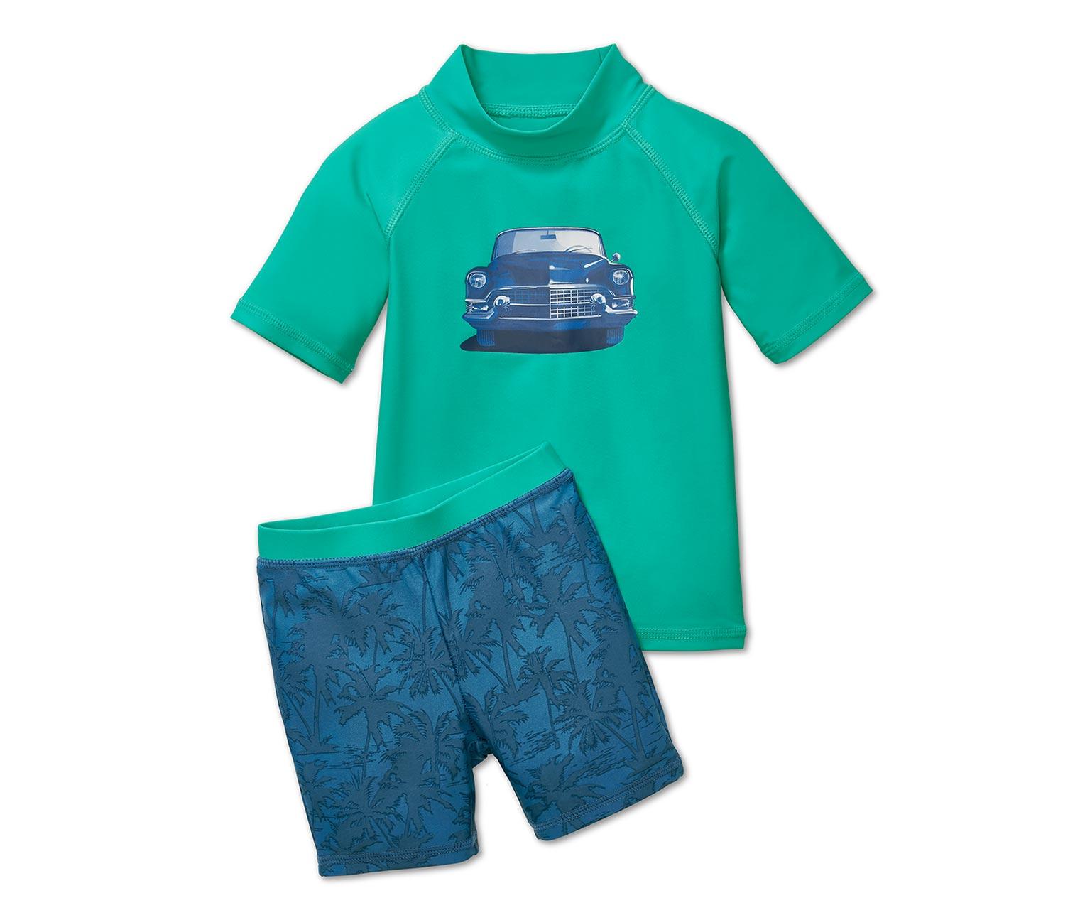 UV-Schutzkleidung in grün und blau