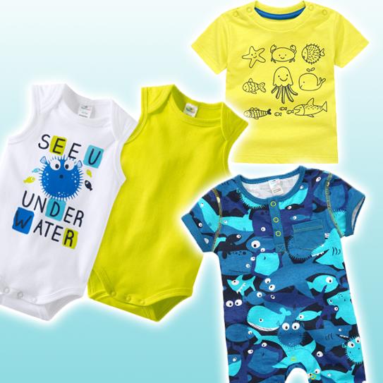 Babymode mit Meeresprints