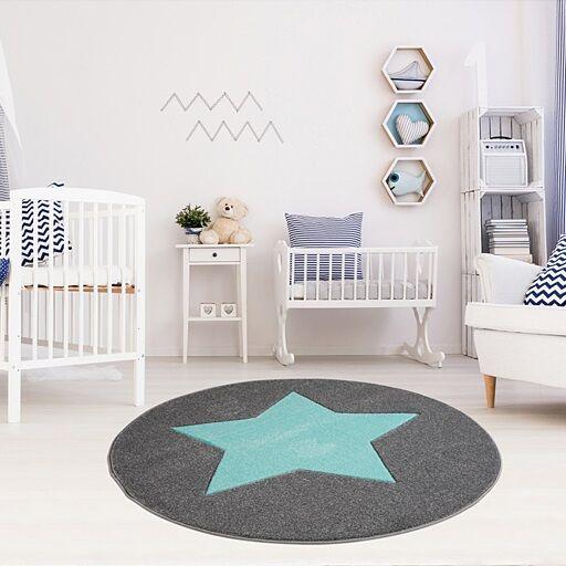 Sternchen Teppich in blau-grau