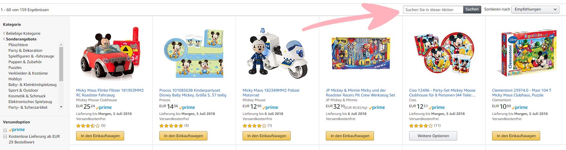 Amazon Screenshot Suchfeld