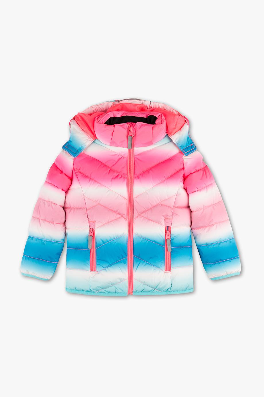 bunte Skijacke in rosa blau weiß