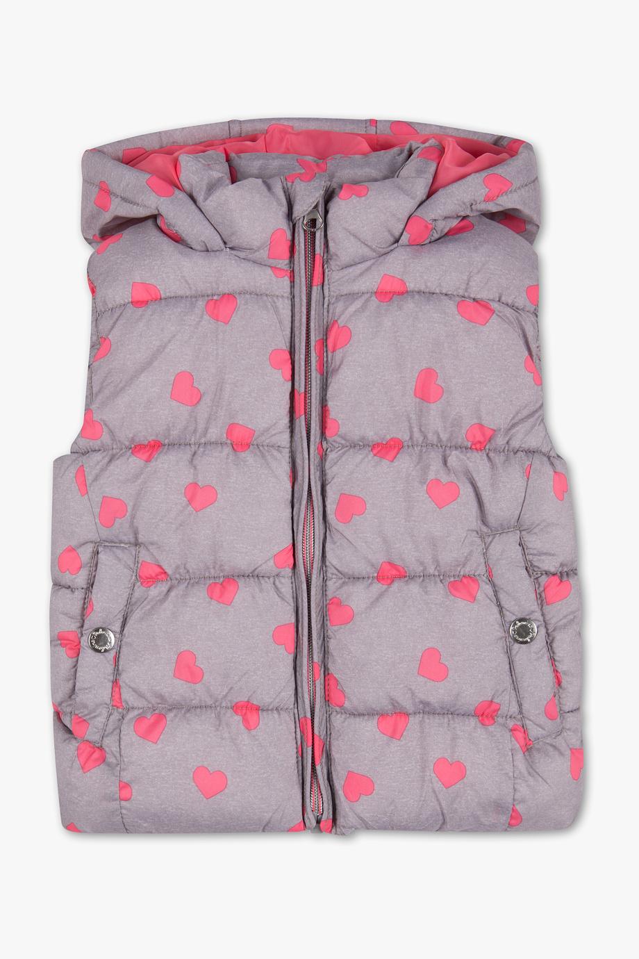 Steppweste in grau mit rosa Herzen
