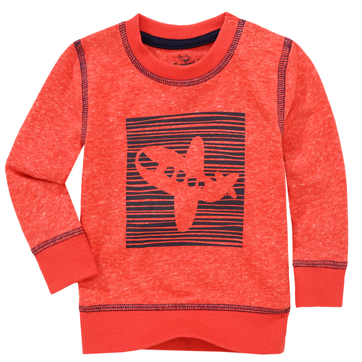 Pullover in Rot mit Flugzeugmotiv