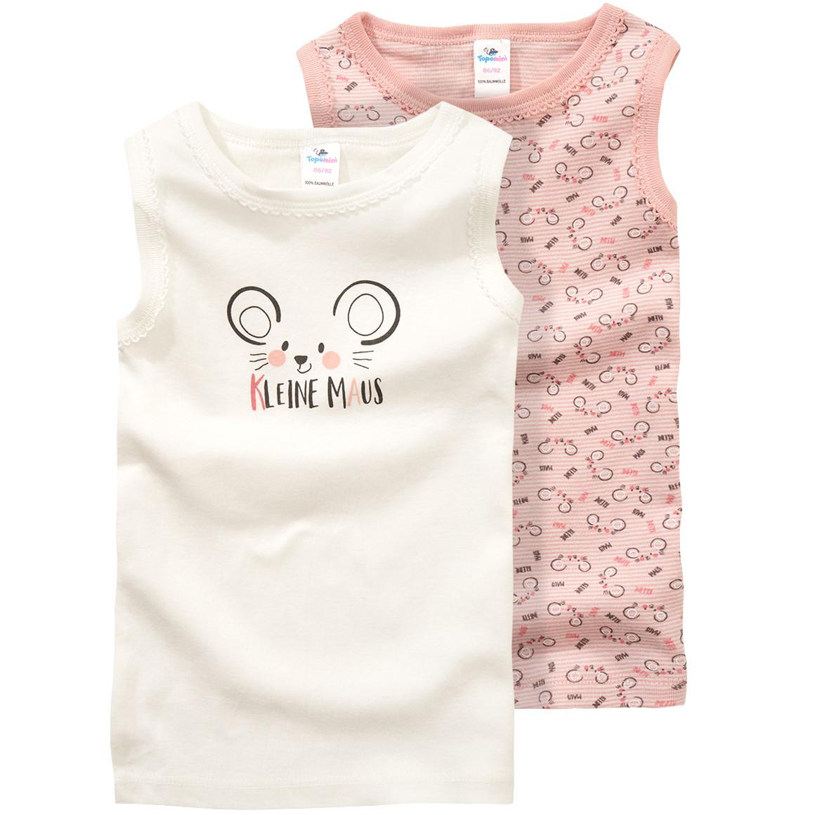 Unterhemden mit Mäusemotiv in rosa weiß