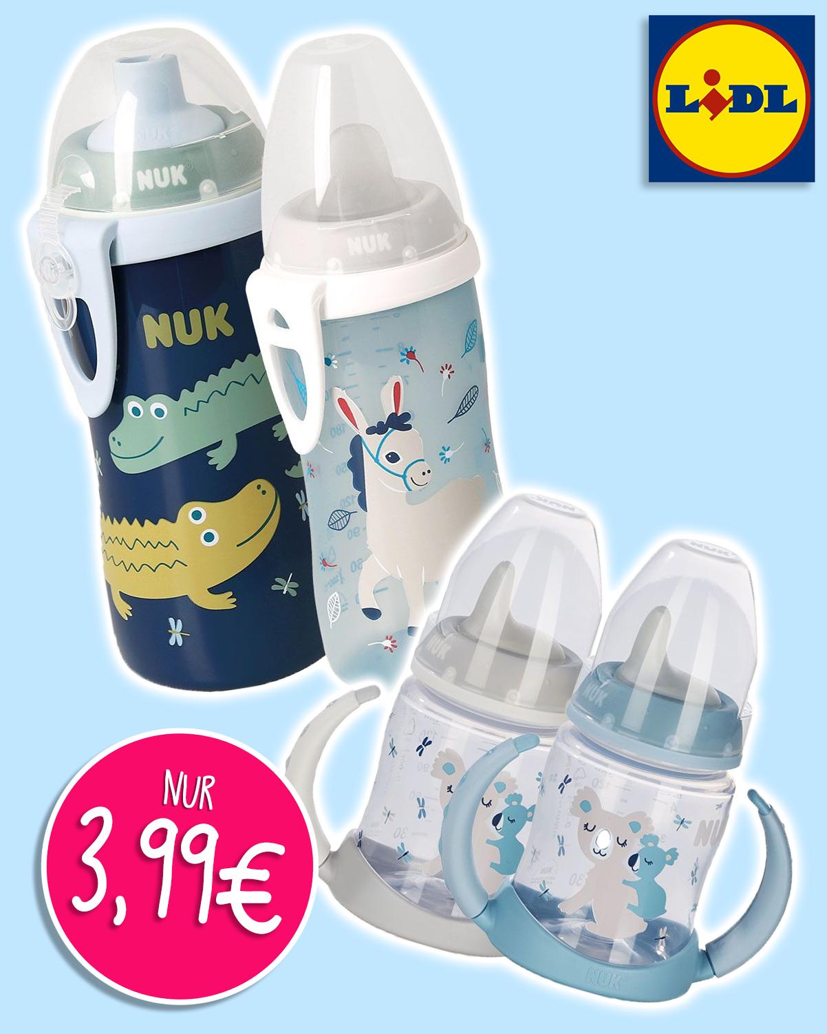NUK Flaschensets in groß und klein in blau Tönen