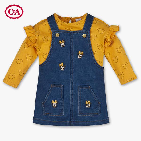 C&A Herbstkleid Mickey gelb