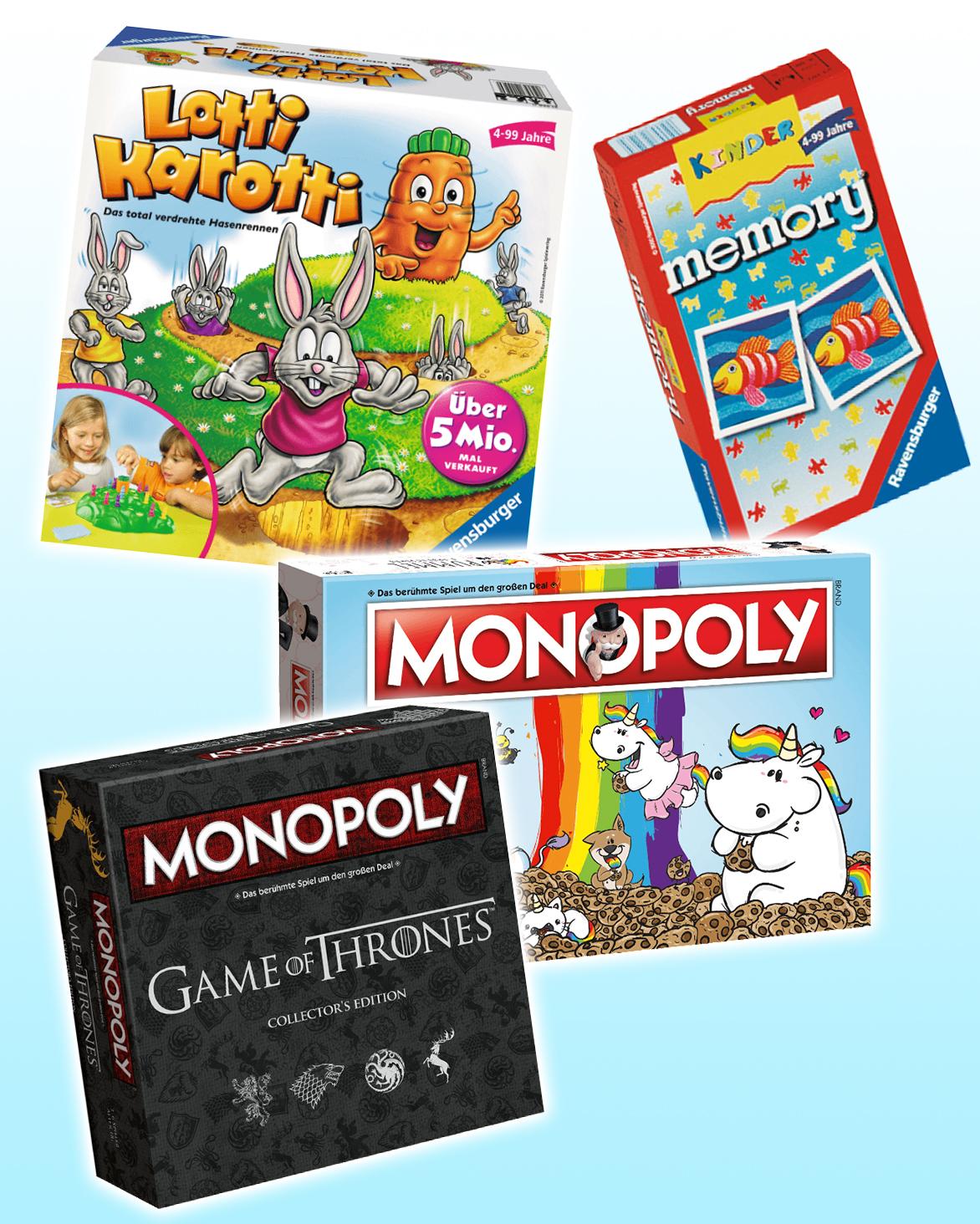 Gesellschaftsspiele: Monopoly, Lotti Karotti, Memory