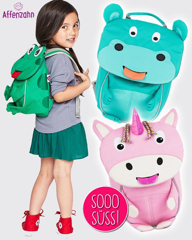 Kind trägt Kindergarten Froschrucksack