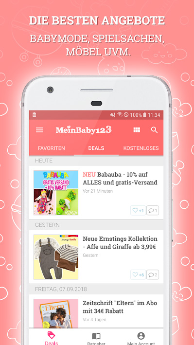 Deals in der MeinBaby123 App