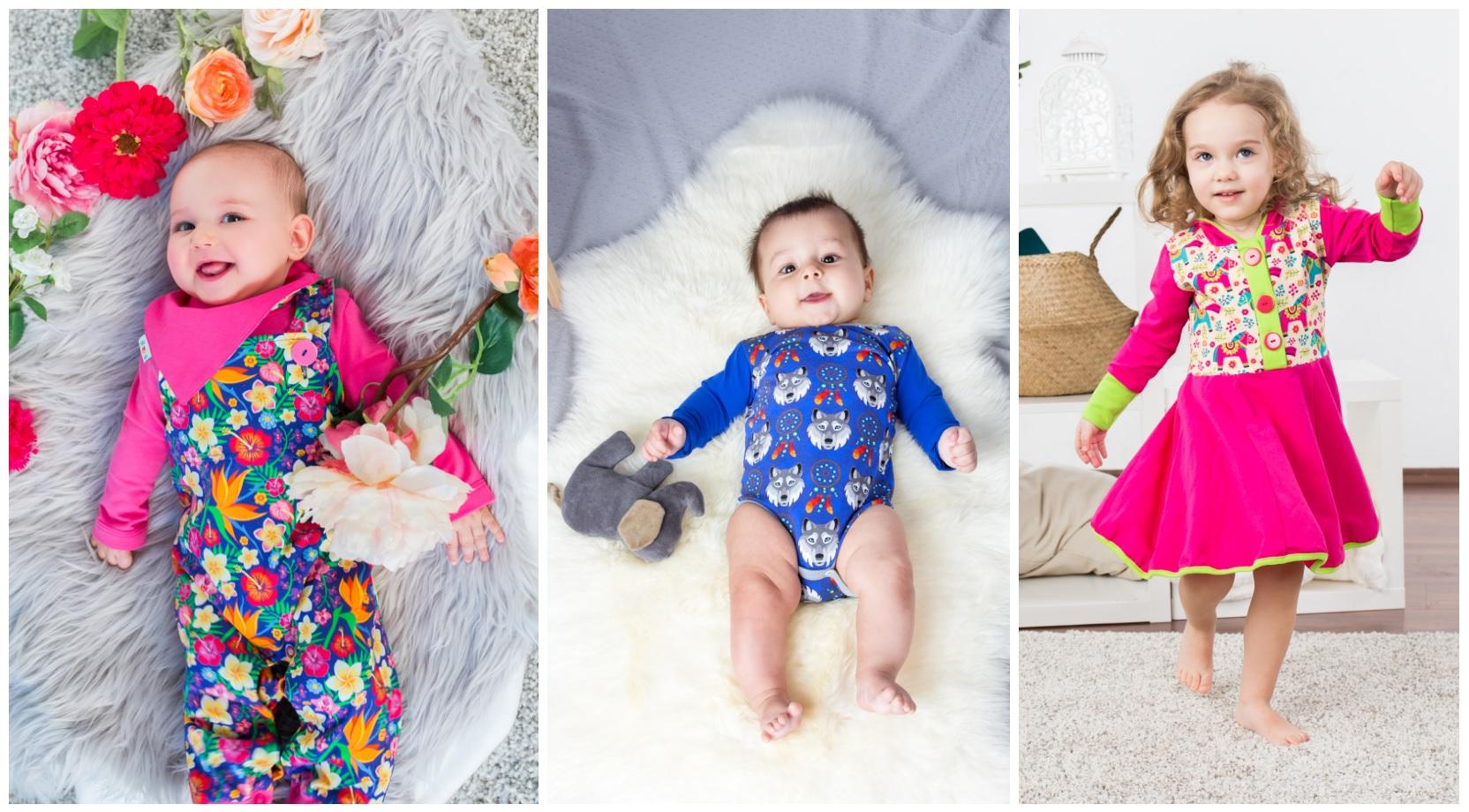 Babies und Kleinkinder mit verschiedenen Babauba-Kleidungsstücken