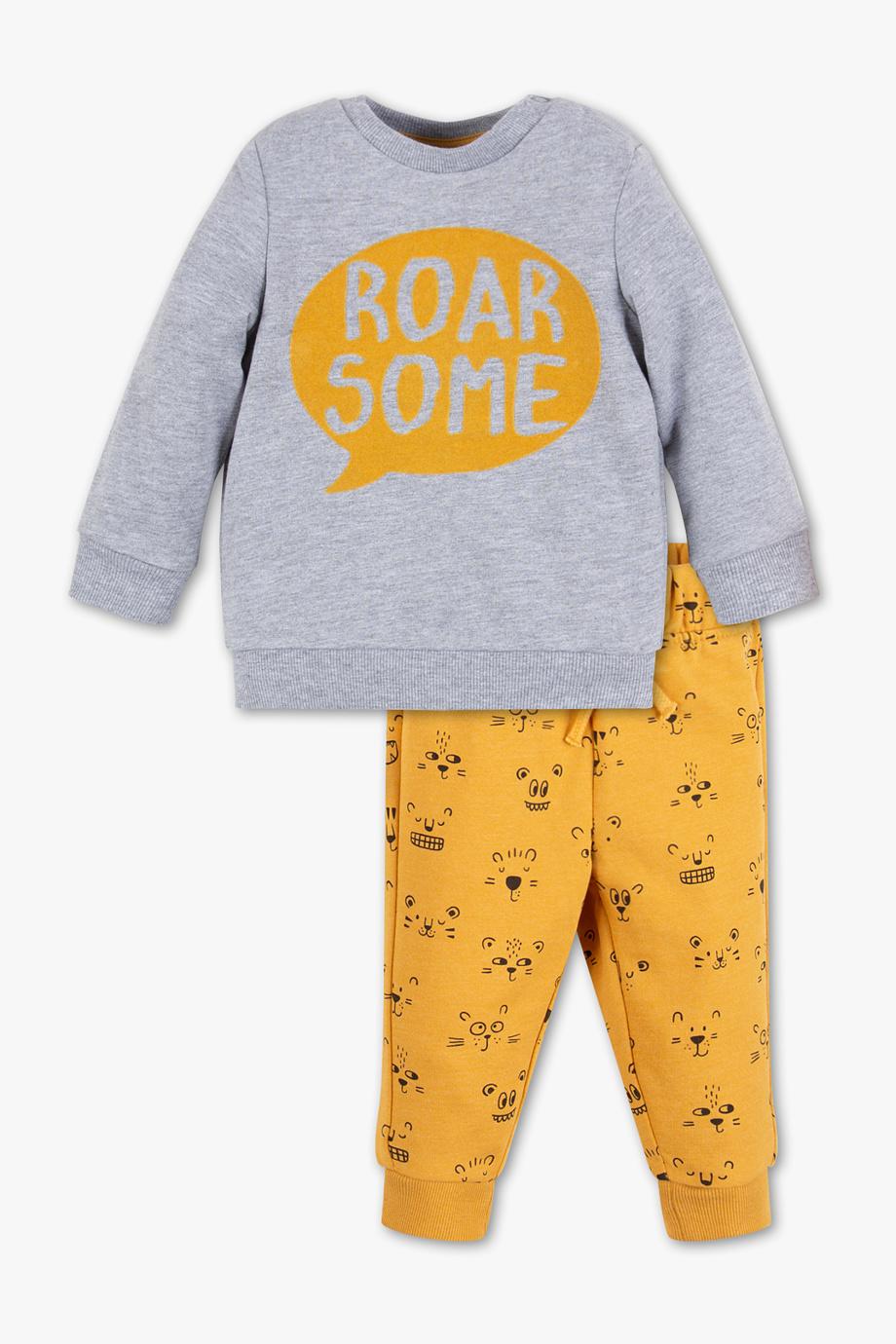 zweiteiliges Outfit in gelb grau