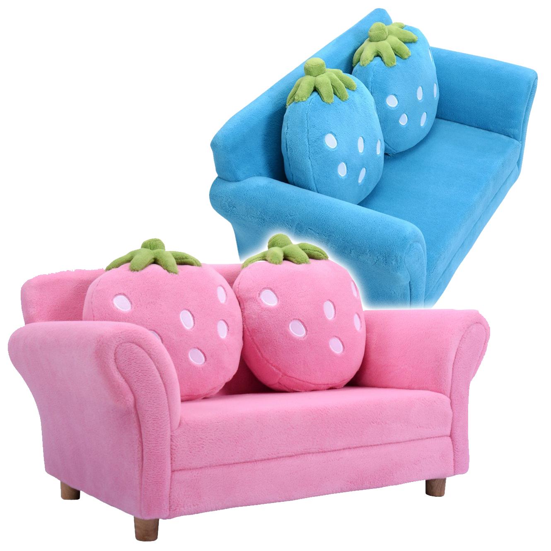 blaues und rosanes Erdbeersofa
