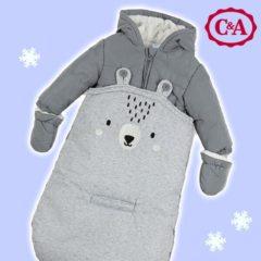 grauer Schneeanzug mit Teddymotiv