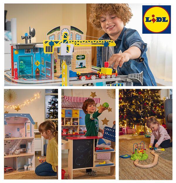 Kinder spielen mit unterschiedlichen Hausspielzeugen