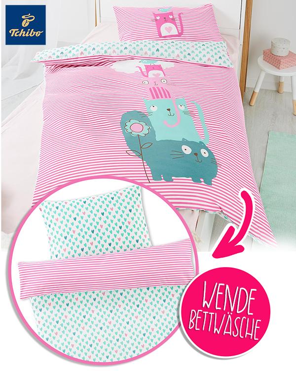 rosane Wendebettwäsche mit Katzenmotiven