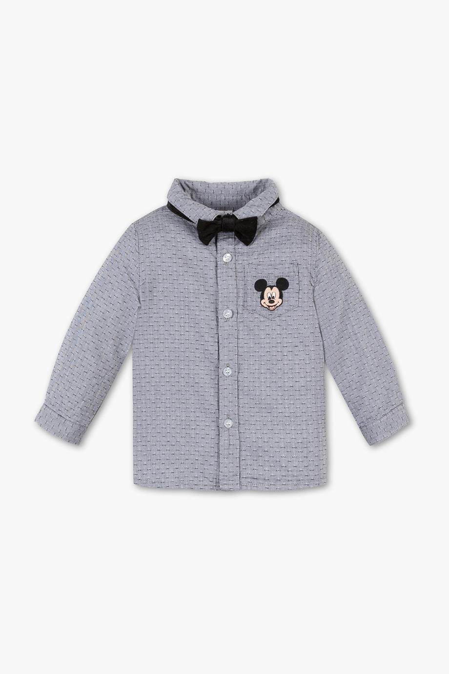graues Hemd mit Mickymausemblem und fliege