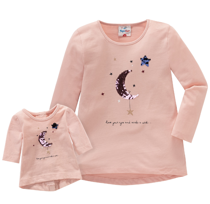 Puppenpartnerlook Langarmshirt in rosa