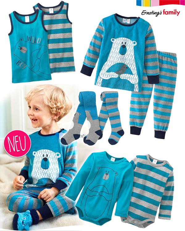 Zusammenstellung von Jungenwäsche in blau