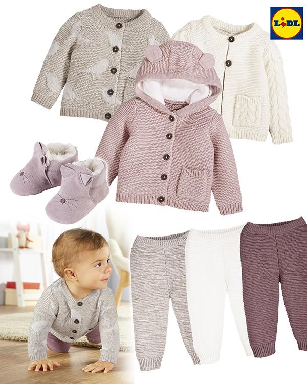 Baby-Strickware von LIDL in rosa und cremetönen