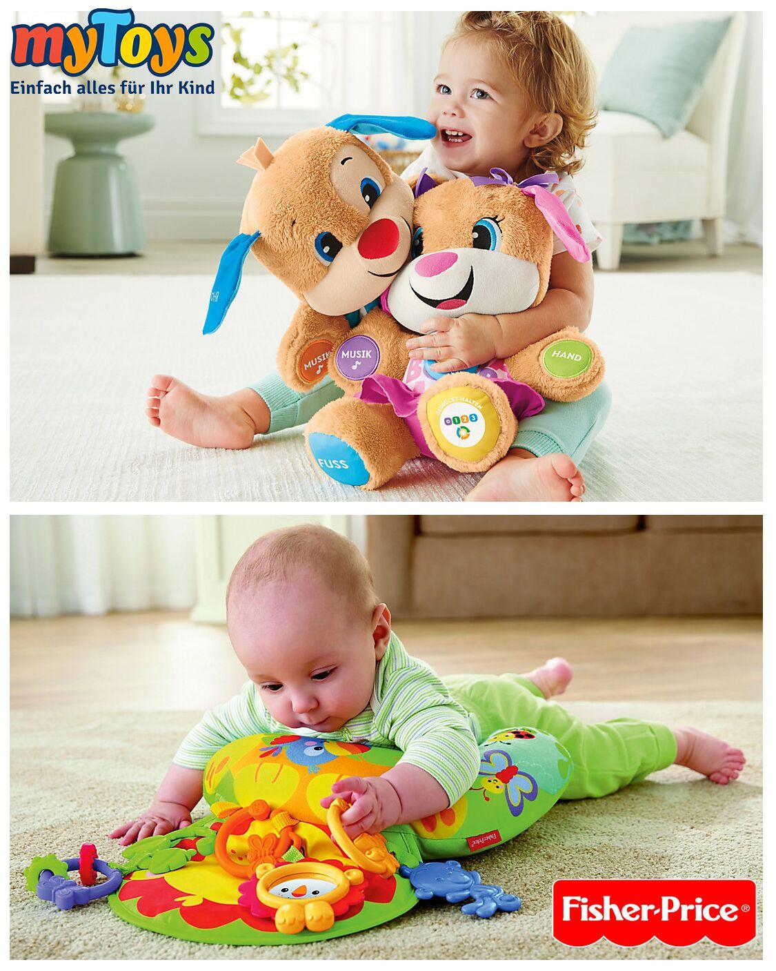baby spielt mit siher price spielzeug
