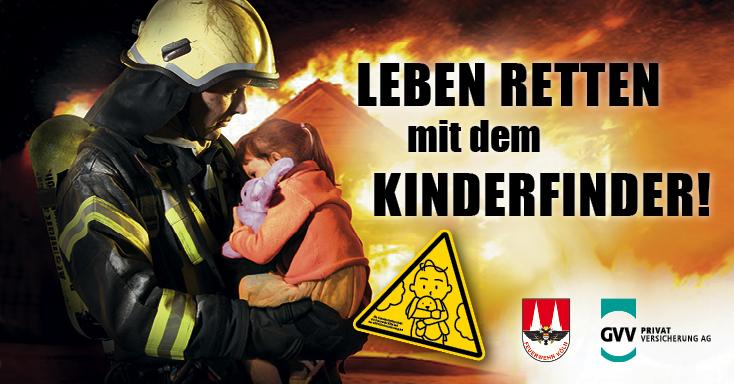 Feuerwehrmann rettet Kind danke Kinderfinder-Sticker