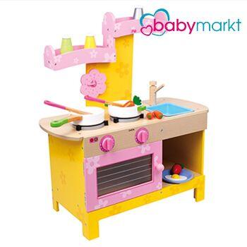 Kinderküche in rosa und gelb