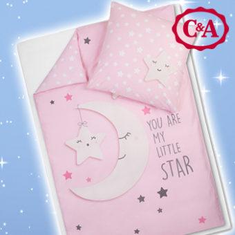 rosane wendebettwäsche mit Mondmotiv