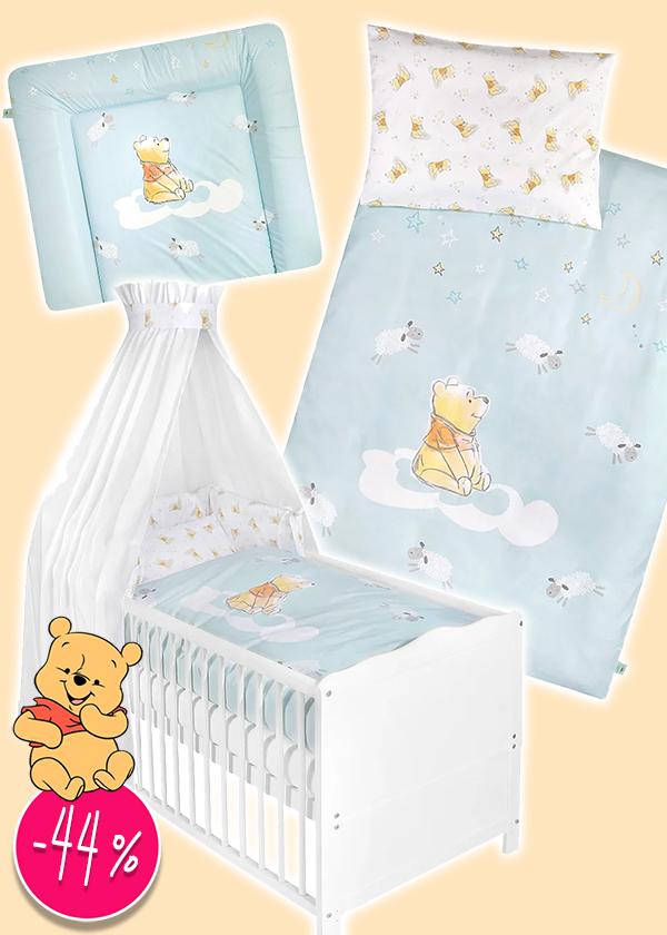 Bettwäsche-Sets und Wickelunterlage mit Winnie Pooh Prints