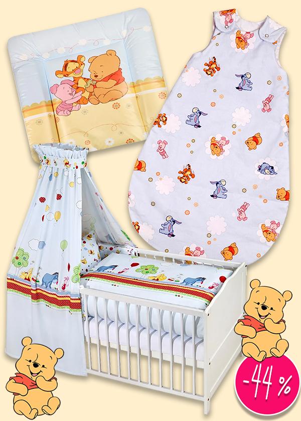 Bettwäsche-Sets, Schlafsack und Wickelunterlage mit Winnie Pooh Prints