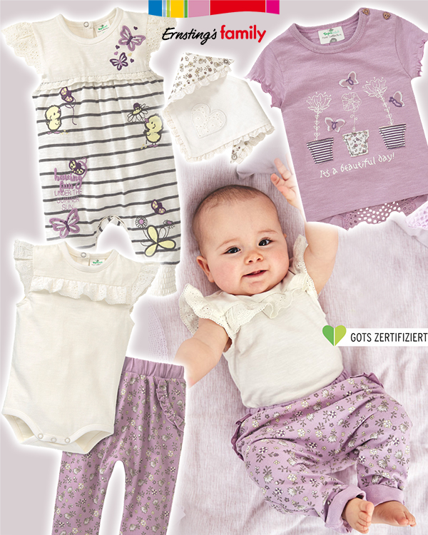 Baby in lila hose und weißem Shirt