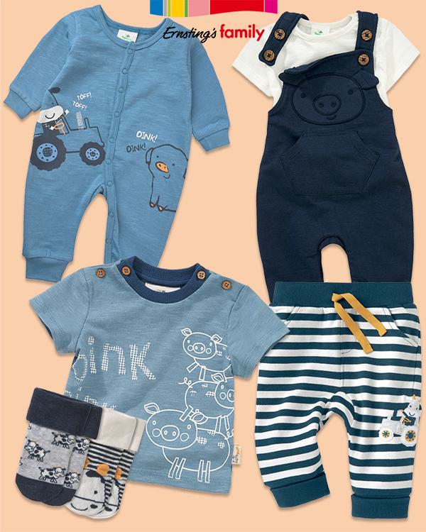 Babymode in blau mit Bauernhof-Prints
