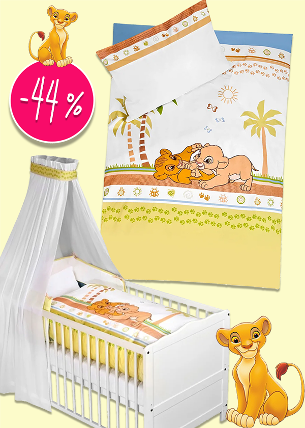 Bettwäsche-Sets und Wickelunterlage mit König der Löwen Simba Prints