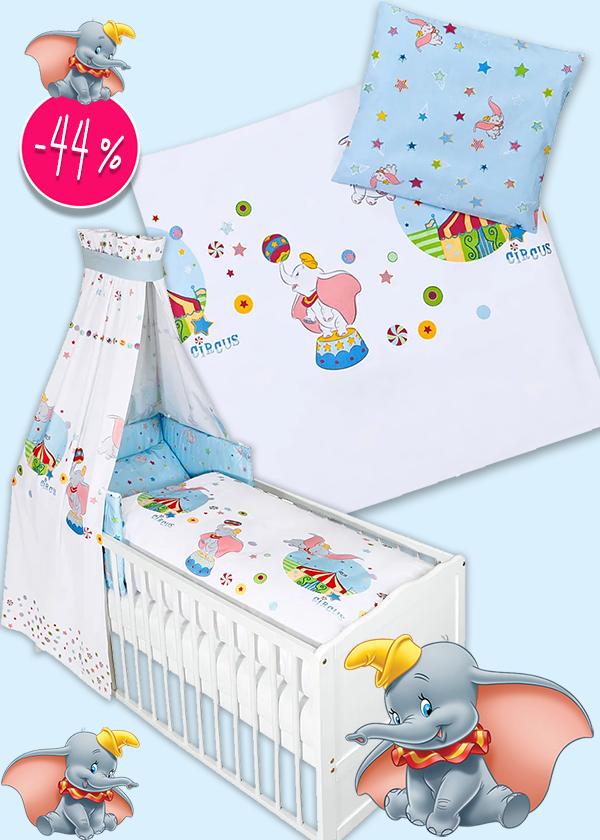 Bettwäsche-Sets und Wickelunterlage mit Dumbo Prints