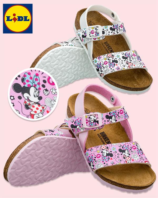 Birkenstocksandalen mit Minnie Mouse Design in rosa