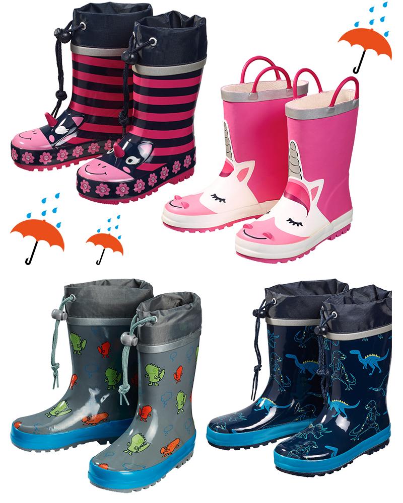Verschiedene Regenstiefel für Kinder