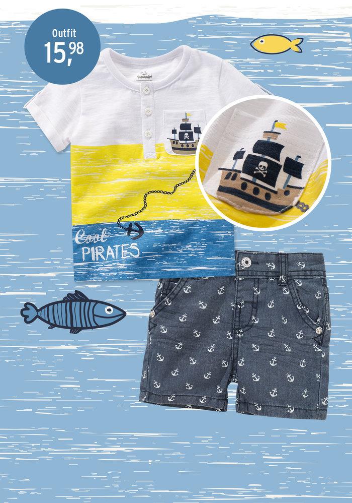 Outfit mit Walen und Fischen