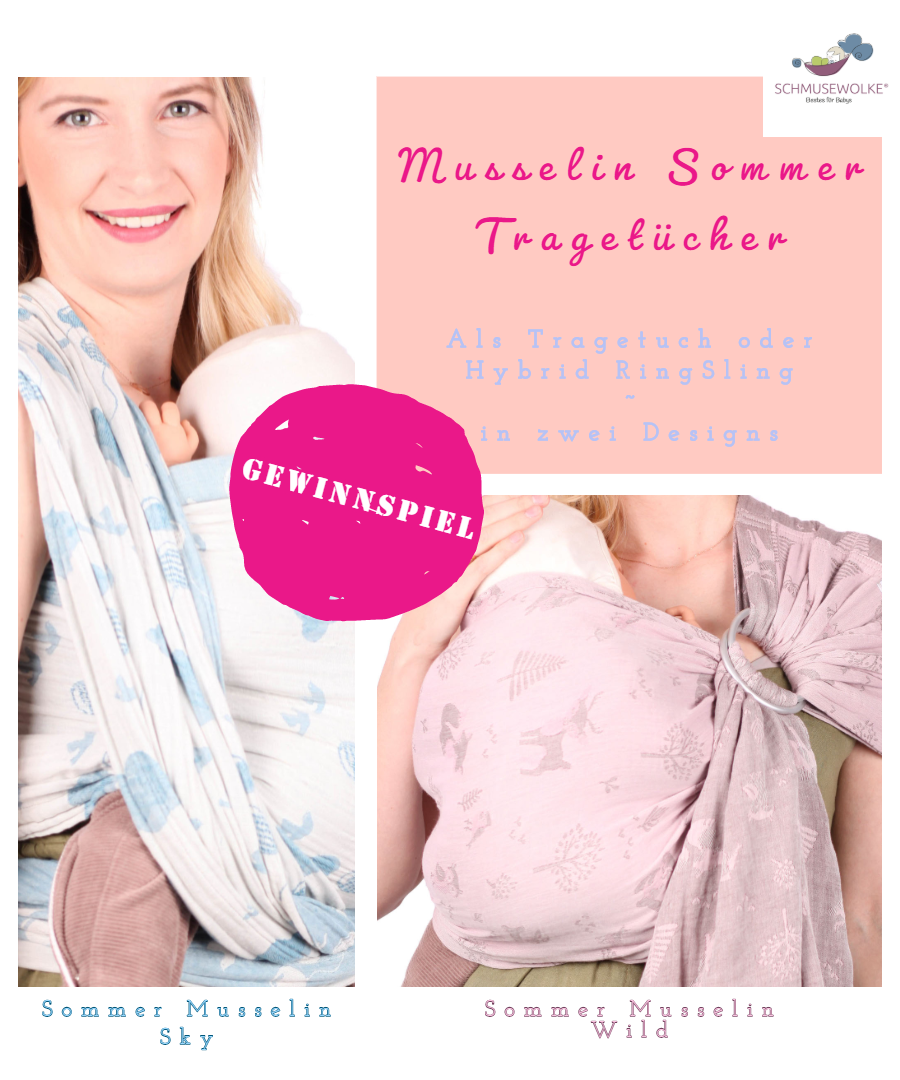 Frauen mit blauem und rosa Tragetuch und Babies