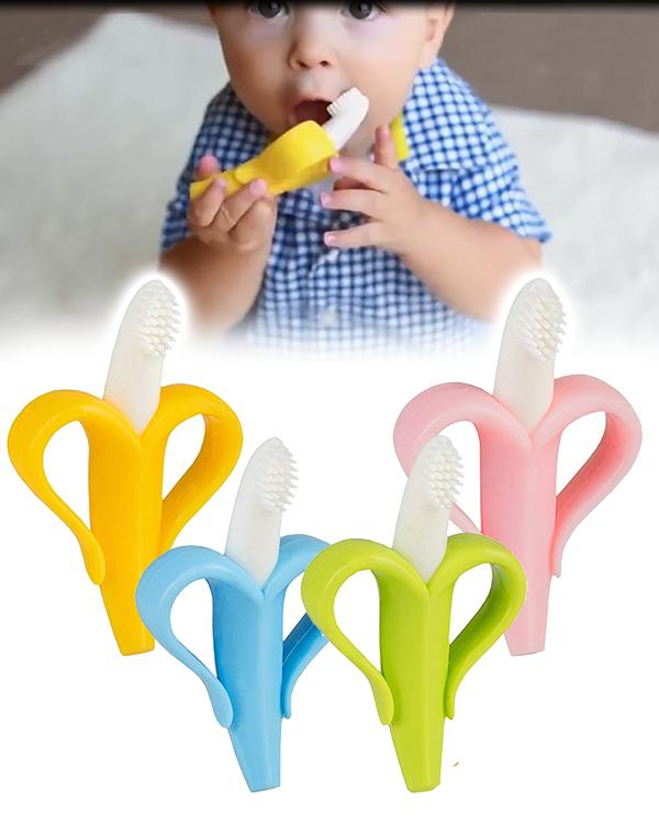 Kind beißt auf Bananen Beißring und Zahnbürste