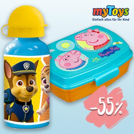 Paw Patrol Trinkflasche und Peppa Wutz Brotdose von MyToys