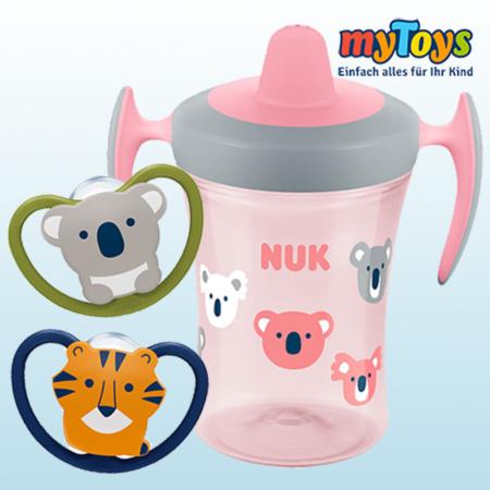 NUK Schnuller und Trinkflasche mit Tier-Design