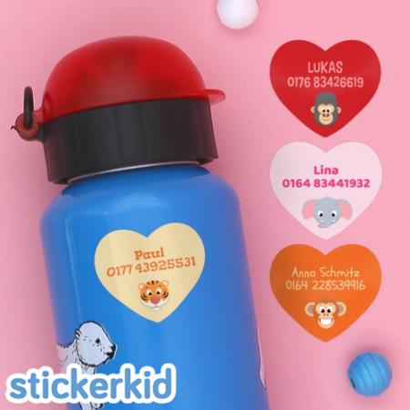 Stickerkid Herzensaufkleber mit Namen auf Trinkflasche