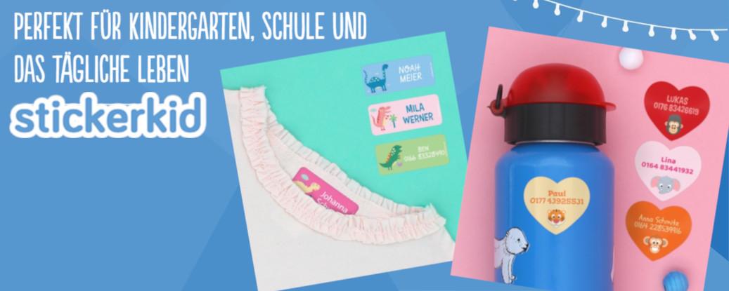 Banner: Stickerkid: Mit personalisierten Namesaufklebern keine Verwechselungsgefahr mehr!