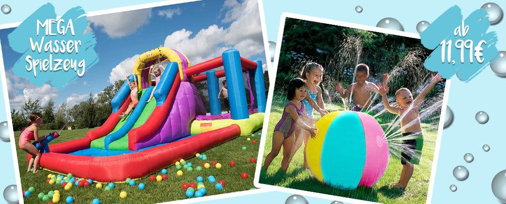 Hüpfburg mit Wasserrutsche und Wassersprinkler-Ball
