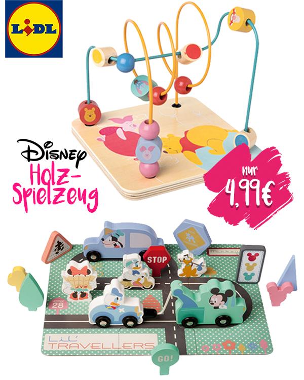 Holzspielzeig mit Minnie und Micky Autos